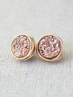 Bridesmaids Earrings Druzy Stud Earrings Rose
