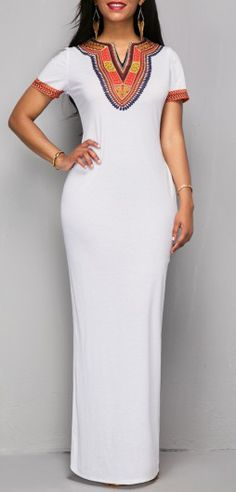 Modern African Fashion White Ankara Maxi Dress