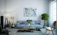 salon stylé avec canapé gris et objets vintage