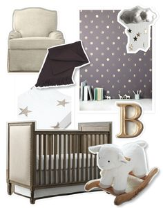 Nursery decor inspiration - gold, plum and linen. Neutral and classic.