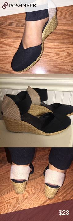 Black wedged strap sandals Only worn a few times, great condition, straps around the ankle, closed toe, super cute and comfortable, wedged heel is 3 inches tall, perfect for a night out, summer, and can go with any outfit, fast shipping Chaps Shoes Sandals