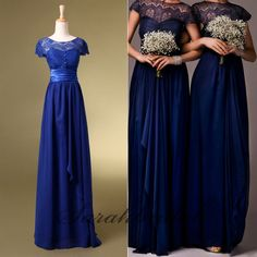 2014 New Stock Royal Blue Lace Bridesmaid Dresses Long Evening Party Prom Gowns