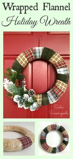 I've always wanted a wreath that was Christmas-y AND winter-y so that it could stay put through February, and now I have one! Flannel scraps from thrift store flannel shirts in holiday colors make for the perfect mixed plaid wreath. Add some sprigs of greenery, pine cones, and red berries, and you have a gorgeous piece of door decor! Love this thrifted Christmas upcycle / repurpose project