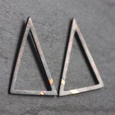 Triangular Keum-Boo Earrings, Handmade, Oxidised Sterling Silver & 24ct Gold Stud Triangles