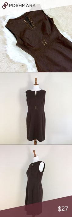 """Tahari Brown Studded Sleeveless Knee Length Dress Bronze studded accents on the belt area and Neckline make this dress very classy and elegant. The fabric has a beautiful matte zigzag textured pattern. Fully lined. Size 10P. Shoulders: 16"""", Chest: 38"""", waist: 34"""", hips: 42"""". Length (top to bottom): 36"""". Materials: shell: 77% cotton, 21% polyester, 2% spandex. Lining: 100% acetate. Tahari Dresses Midi"""