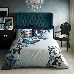 Add vibrant florals to your sleeping setting with this Butterfly Collective duvet cover from Ted Baker. Made from silky soft cotton sateen, this duvet cover has a 220 thread count and a subtle bl Floral Bedding, Blue Bedding, Butterfly Bedroom, Blue Butterfly, Ted Baker, Super King Duvet Covers, Black Duvet Cover, Cool Beds, Bed Sets