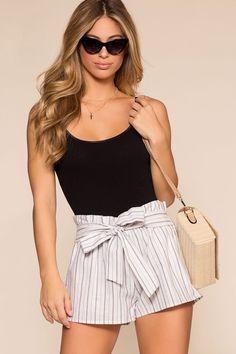 Festive Ready Stripe Shorts - White