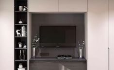 How and where to make a modern TV cabinet design? We offer options for the best solutions for comfortable viewing of your favorite movies. Living Room Modern, Living Room Interior, Living Room Designs, Tv Cabinet Design Modern, Modern Design, Living Room Cabinets, Tv Cabinets, Tv Shelf, Shelves