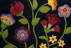 Jacobean wool applique penny rug wall hanging par HighlandSong