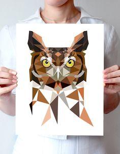 "Geometric bird art print 8""x10"" or 11""x14"" - Great Horned Owl - night bird by villavera on Etsy https://www.etsy.com/listing/215108466/geometric-bird-art-print-8x10-or-11x14"