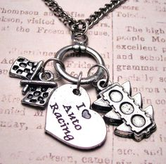 Auto racing charm holder with 3 charms by MyTinyTemptations, $17.00