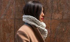 cowl scarf + red lips.