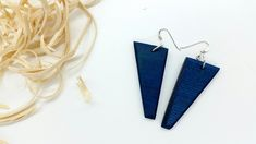 Your place to buy and sell all things handmade Arrow Earrings, Triangle Earrings, Blue Earrings, Etsy Earrings, Wooden Earrings, Kind Words, Midnight Blue, Craft Gifts, Dangles