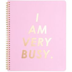 rough draft large notebook i am very busy, carnation (1 345 UAH) ❤ liked on Polyvore featuring home, home decor, gold home decor, pink home decor, gold home accessories, gold notebook and spiral notebooks