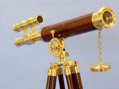 """Floor Standing Brass/Wood Griffith Astro Telescope 44"""" from Handcrafted Nautical Decor - In stock and ready to ship"""