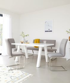 Modern and sleek, the Fergus Grey Fabric Dining Benches will add a soft touch to your modern interior. Pair with the coordinated Fergus Cantilever Dining Chairs for a clean and considered look. Dining Set, Dining Bench, Dining Chairs, White Gloss Dining Table, Bench Set, Table And Chair Sets, Chair Fabric, Grey Fabric, Glass Table