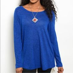 Blue long sleeved knit top This listing is for size large, it is also available in small & medium ! Ask to be tagged in the other sized listing Tops Tunics