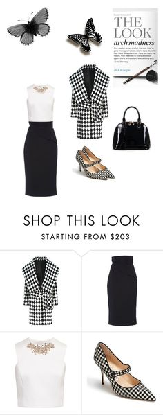 """Black And White Kind Of Day"" by kimberlydalessandro ❤ liked on Polyvore featuring Balmain, Brandon Maxwell, Ted Baker, Manolo Blahnik and Relaxfeel"
