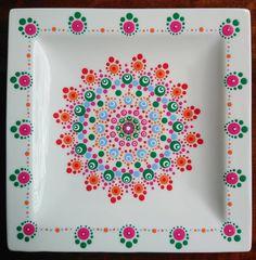 Fun with color 😍 Dot Art Painting, Pottery Painting, Dot Dot, Mandala Dots, Manado, Polymers, Artsy Fartsy, Plates, Colour