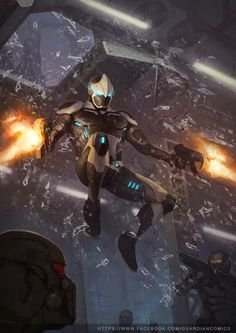 Mechas, robôs, soldados futuristas e aliens nas ilustrações de ficção científica de Jonathan González