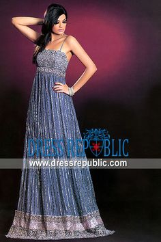 Blue Eudora, Product code: DR6931, by www.dressrepublic.com - Keywords: Indian Boutiques in Chula Vista, Concord, Culver City, California, US Pakistani Boutiques Shops