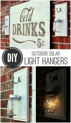 DIY Outdoor Solar Light Hangers tutorial on { lilluna.com } Great and simple project for the porch or backyard.