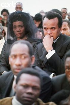 Harry Belafonte & Coretta Scott King at Dr. King's funeral, Atlanta, Georgia, 1968. This pic is so powerful and touching.