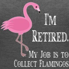 I m retired my job to collect flamingos - Women's V-Neck Tri-Blend T-Shirt Flamingo Craft, Flamingo Decor, Flamingo Party, Pink Flamingos, Flamingo Gifts, Yard Flamingos, Flamingo Bathroom, Flamingo Outfit, Flamingo Painting