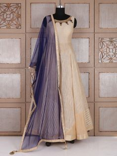 Shop Cream and blue silk anarkali suit online from G3fashion India. Brand - G3, Product code - G3-WSS21667, Price - 7595, Color - Blue, Cream, Fabric - Silk,
