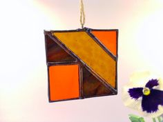 Orange Amber Bronze Abstract Stained Glass Autumn by JBsGlassHouse