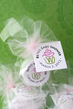 Cupcake baby shower favors can be personalized with your name and date. Custom fonts and colors available, too.