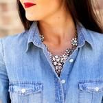 DENIM SHIRT - STATEMENT NECKLACE