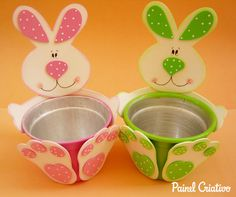 Easter is our favorite holiday because who doesn't love delicious desserts, Easter eggs and cute bunnies? For anyone who planning to gift their children, friends or family on this special day, here's a fun Easter craft idea: a craft foam bunny pot / . Bunny Crafts, Foam Crafts, Easter Crafts For Kids, Diy And Crafts, Craft Foam, Spring Crafts, Holiday Crafts, Easter Projects, Art N Craft