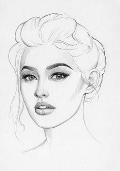 ❀Pinterest: @Kaylad61❀ Cool Art Drawings, Pencil Art Drawings, Art Drawings Sketches, Fashion Illustration Face, Art And Illustration, Portrait Sketches, Portrait Art, Beautiful Fantasy Art, Face Sketch