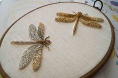 Dragonfly is made in traditional gold work technique. Dragonfly is a symbol of good luck so it will be your talisman for life. Noted price is for one bug ! Couture Embroidery, Hand Embroidery Stitches, Silk Ribbon Embroidery, Embroidery Jewelry, Hand Embroidery Designs, Cross Stitch Embroidery, Embroidery Art, Simple Embroidery, Knitting Stitches