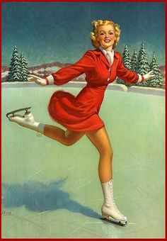 Vintage Pinup Art Print -Pretty Girl Red Dress Ice skating By Buell-- Pinup 74 Pin Up Vintage, Photo Vintage, Retro Vintage, Retro Art, Retro Christmas, Vintage Christmas Cards, Vintage Holiday, Vintage Cards, Christmas Images