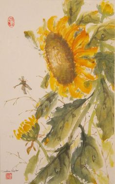 Sunflower by Darlene Kaplan. Chinese minerals on acid free rice paper.