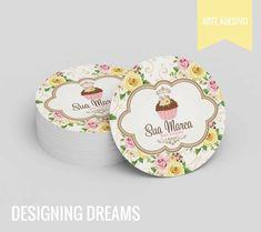 COMBO DE IDENTIDADE VISUAL BOLOS E DOCES 02 Bakery Business Cards, Cake Business, Business Card Design, Cake Logo Design, Branding Design, Logo Dulce, Cake Icon, Baking Packaging, Cup Logo