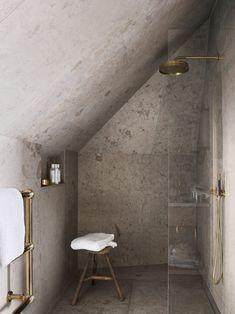 Home Interior Plants Tiny shower room. Ett Hem, Stockholm, designed by Ilse Crawford. Simple, neat little shower room Loft Bathroom, Wooden Bathroom, Bathroom Interior, Concrete Bathroom, Concrete Shower, Sloped Ceiling Bathroom, Small Attic Bathroom, Granite Bathroom, Brass Bathroom