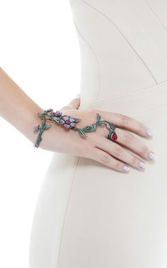 Flower And Vine Bracelet And Ring by Wendy Yue for Preorder on Moda Operandi
