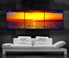 LARGE 20x 60 3 panels Art Canvas Print Beach Ocean Sunset Yellow Red Blue Wall (Included framed 1.5 depth)