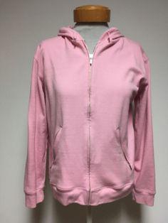 Jones New York Sport Womens Pink Stretch Hoodie Sweater Sz Small Zipper Front  #JonesSport #Hooded