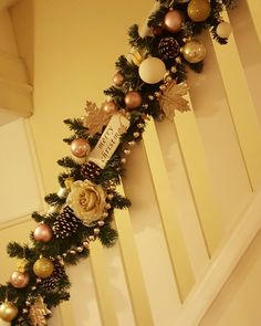 Christmas garland up the stairs