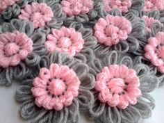 SLAVENA 10Gray,Grey and Pink Crochet Decoration Applique For Hairbands Flowers Daisies Scarves, Bags Supplies  Ideas for flower loom love pink and grey