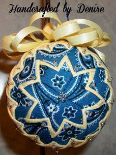 Creamy yellow and blue bandana~ Quilt looking fabric ornaments made by Handcrafted by Denise.