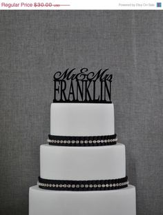 Personalized Last Name Wedding Cake Topper Mr and Mrs Cake