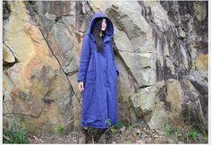 long coat maxi coat hoodie coat winter coat warm by JulyFlower