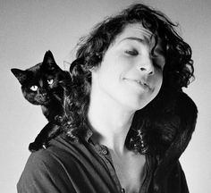 Young Chris Cornell With a black cat on his shoulders Black and white 80s