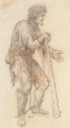 Masquerader in de vorm van een Prisoner.jpg, krijt van Leonardo Da Vinci (1452-1519, Italië)