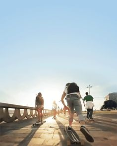 longboarding into the sunset